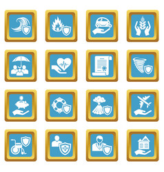 insurance icons set sapphirine square vector image
