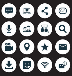 Internet icons set collection of gif sticker pin vector
