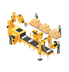 Isometric electronic factory with conveyor vector