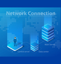isometric network technology vector image