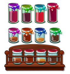 jars with colored bank with spices on wooden stand vector image
