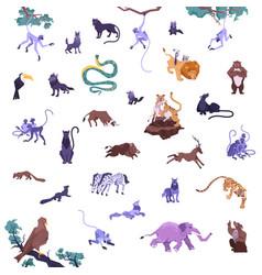 Jungle animals icon set vector