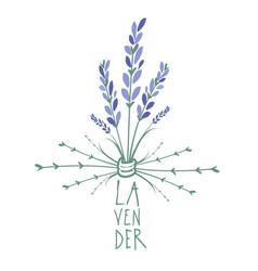 lavender flower logo design text hand drawn vector image