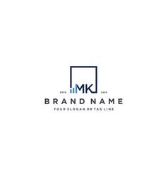Letter mk square logo finance design vector