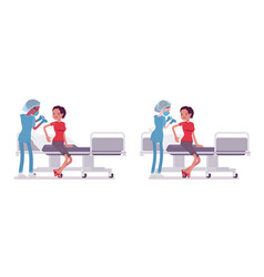 Male female nurse at medical procedure injection vector