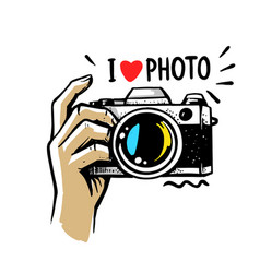 man hand holding camera on white background vector image