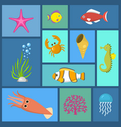 marine plants and fish seamless pattern vector image