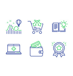 Medical help cross sell and roller coaster icons vector