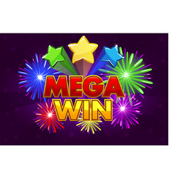 mega big win banner for lottery or casino vector image