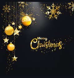 merry christmas happy new year golden christmas vector image