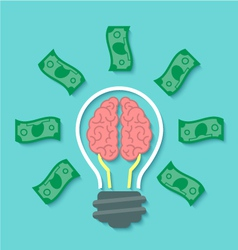 Money and Brain Idea Concept vector image
