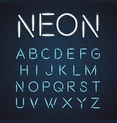 neon font city text night alphabet vector image