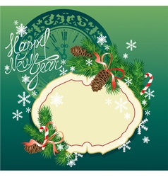 New Year background - fir tree branches and pine vector image