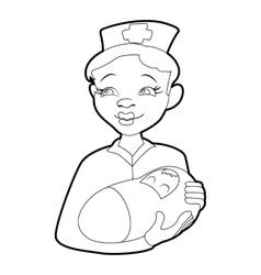 Nurse with a newborn icon isometric 3d style vector