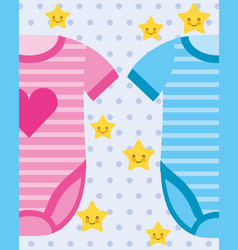 Pink and blue bodysuit baby clothes vector