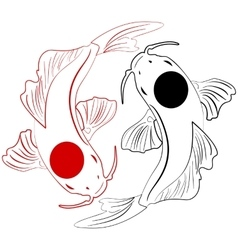 Pisces Koi fish Chinese carps hand drawn doodle vector