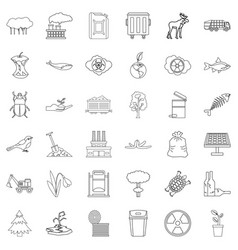Polluting icons set outline style vector