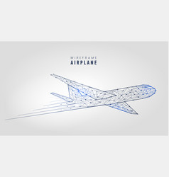 Polygonal airplane wireframe structure template vector