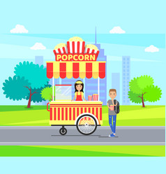 popcorn kiosk in city park vector image