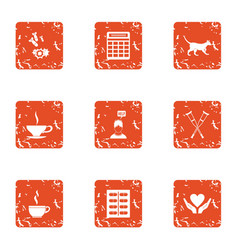 Post war assistance icons set grunge style vector
