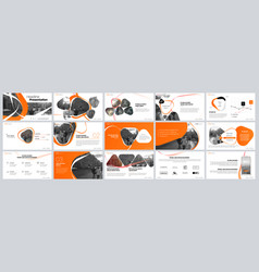 Presentation template orange elements for slide vector