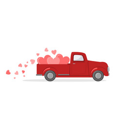 red pickup truck with hearts card a valentine vector image