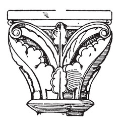 Romanesque capital is found in cloisters of a vector