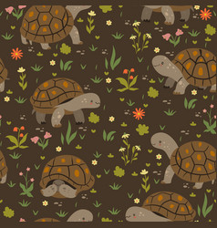 seamless pattern with cute turtles vector image