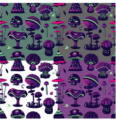 Seamless pattern with magic mushroom vector