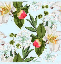 seamless pattern with red peony bud lilies flower vector image