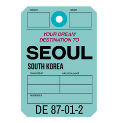 Seoul airport luggage tag vector