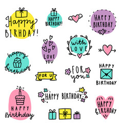 set birthday lettering vector image