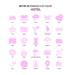 Set of 25 feminish hotel flat color pink icon set vector