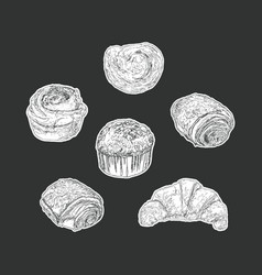 set of bakery isolated sticker hand draw vector image