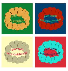 set of vegetarian logo template design food logo vector image