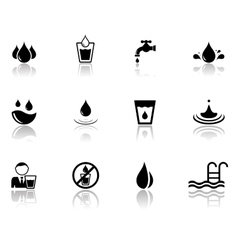 Set water icons with reflection silhouette vector