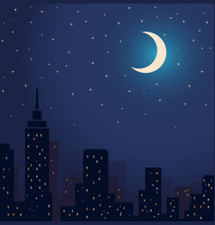 silhouette city and night with stars and vector image