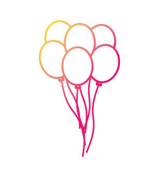 silhouette funny balloons decoration design flying vector image