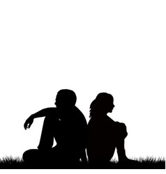 silhouettes of sad couple sitting back to back vector image
