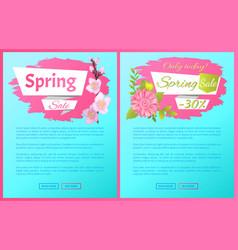spring sale advertisement labels branch sakura vector image