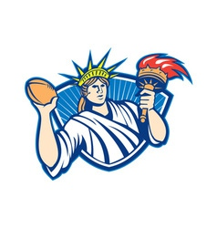 Statue of Liberty Throwing Football Ball vector image