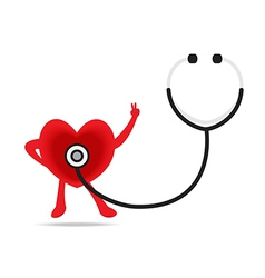 stethoscope and a healthy heart vector image