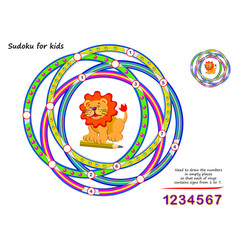 Sudoku for kids logical puzzle game for children vector