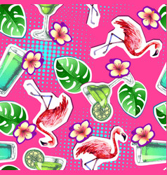 Summer seamless bright pattern with flamingo vector