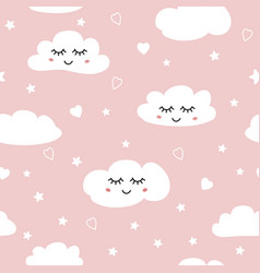 sweet pink seamless pattern white sleeping clouds vector image