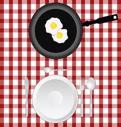 Tablecloth with egg and plate vector