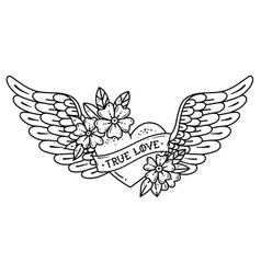 tattoo flying heart with wings ribbontrue love vector image