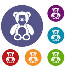 teddy bear icons set vector image