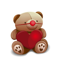 Teddy bear with red rubber clown nose vector