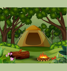 Tents with bonfire on forest background vector